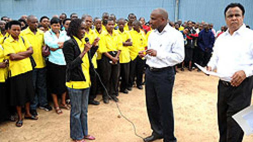 Utexrwa employees meeting Gasabo District authorities this week.  (File Photo)