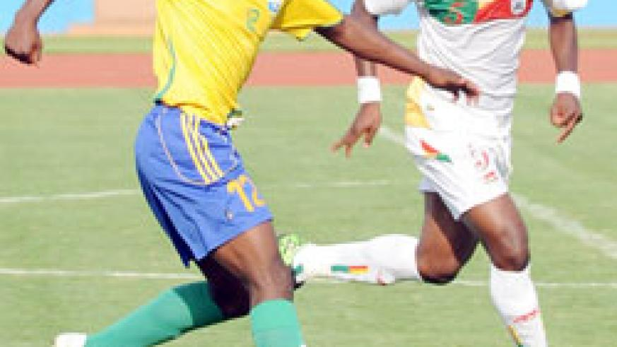 One of Amavubi's exciting prospects Kipson Atuheire (L) didnot play in Sudan. (File Photo)
