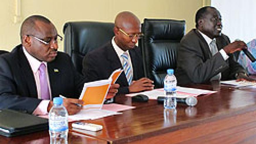 (L-R) BNR Deputy Governor Claver Gatete and ministers Fazil Harelimana and Tharcisse Karugarama during the meeting yesterday (Photo T Kisambira)