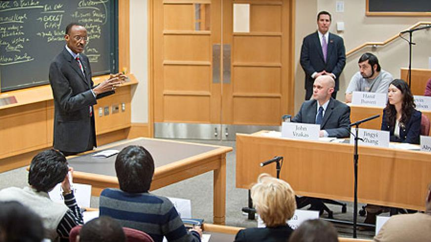 President Kagame giving a lecture at Harvard Business School Tuesday evening (Photo Urugwiro Village)