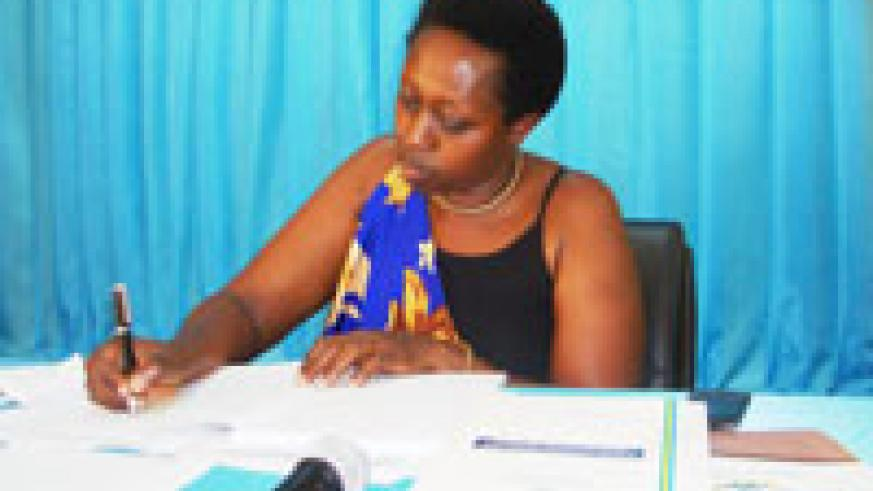 Governor Aisa Kirabo Kacyira at the press conference yesterday.( Photo S. Rwembeho)