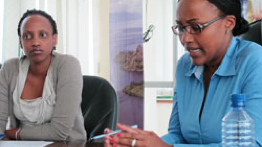 Vivian Kayitesi (R) Head of Division - Investment and Diane Dusaidi, Senior Investment promotion officer at the news conference, yesterday  (Photo T.Kisambira)