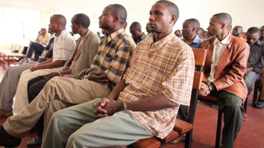 Some of the suspects of the Grenade attacks appearing in Nyarugenge Intermidiate Court yesterday (Photo T.Kisambira)
