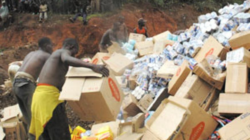 Expired foodstuffs being destroyed (File Photo).