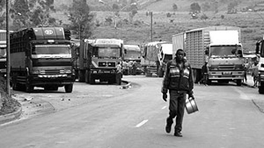 Heavy trucks line up at Gatuna border carrying goods from Mombasa Port. Regional transport infrastructure will be overhauled (File Photo)