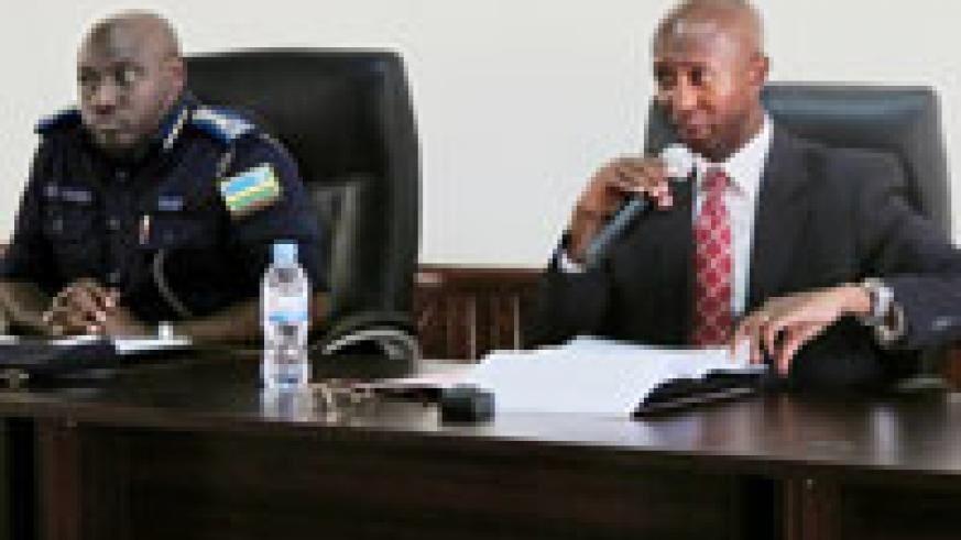 IGP Emmanuel Gasana, and Fazil Harerimana Minister of Internal Security, during the meeting yesterday (Photo Tkisambira)