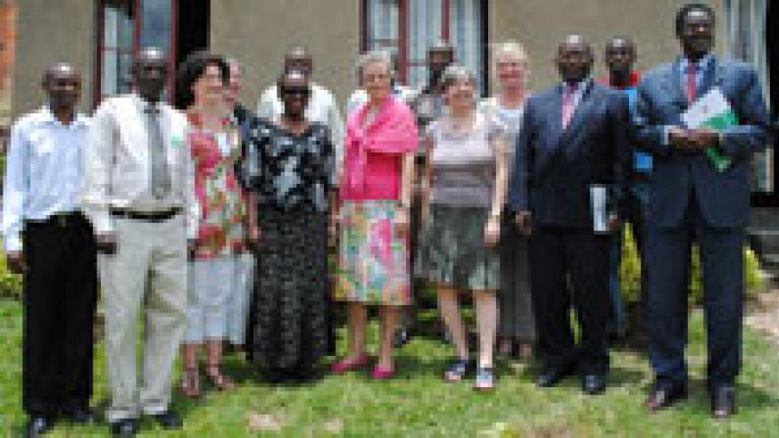 Deputy Ombudsman, Augustin Nzindukiyimana (2R) posses for a photo with the visiting team together with some of RISD staff members. Photo. G.Mugoya