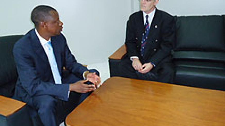 Gen James Kabarebe with Gordon Hughes during their meeting yesterday (Courtsey Photo)