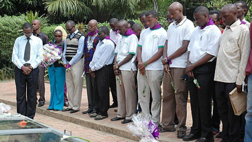 Journalists remembering their comrades who perished in the Genocide. (File Photo)