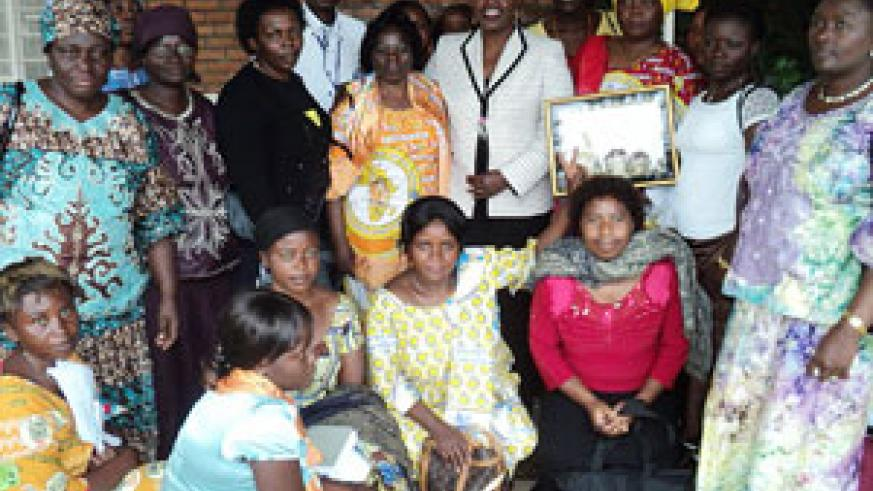 Congolese women after meeting with Jeanne d'Arc Mujawamariya, MIGEPROF minister. (Courtesy Photo)