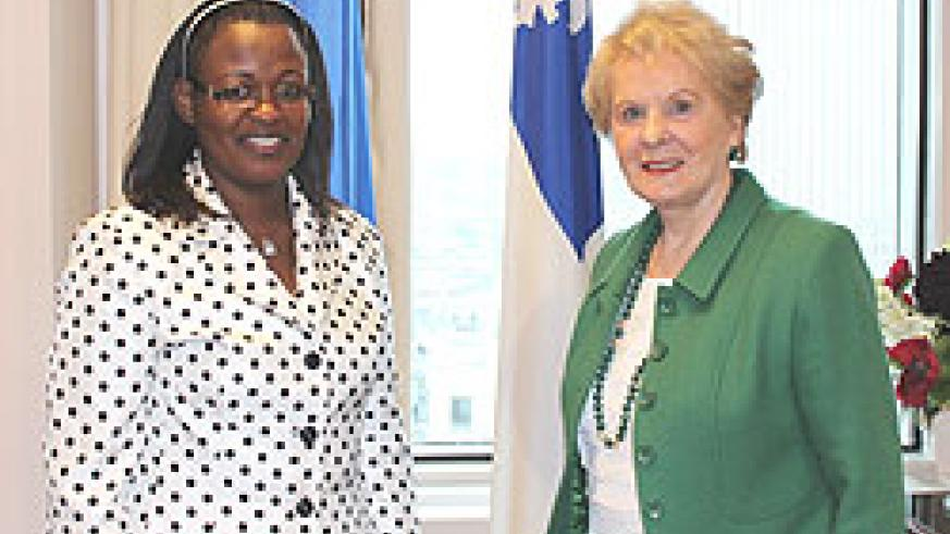 High Commissioner, Edda Mukabagwiza with Monique Gagnon Tremblay, the Quebec Minister in charge of International Cooperation (Courtesy Photo)
