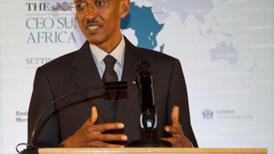 President Kagame addressing the Times CEO Africa Summit in London. (Photo Village Urugwiro)