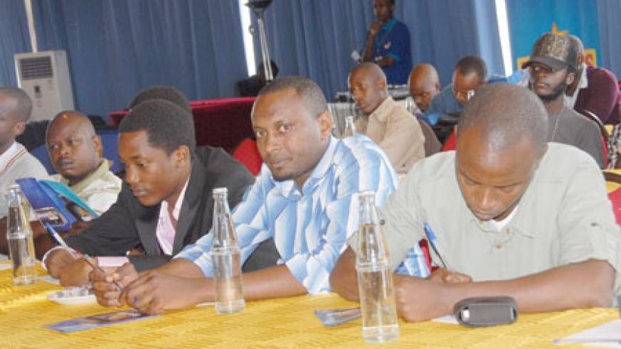 Local music producers and journalists at the PGGSS press conference at Top Tower Hotel (photos / D. Nkurunziza)
