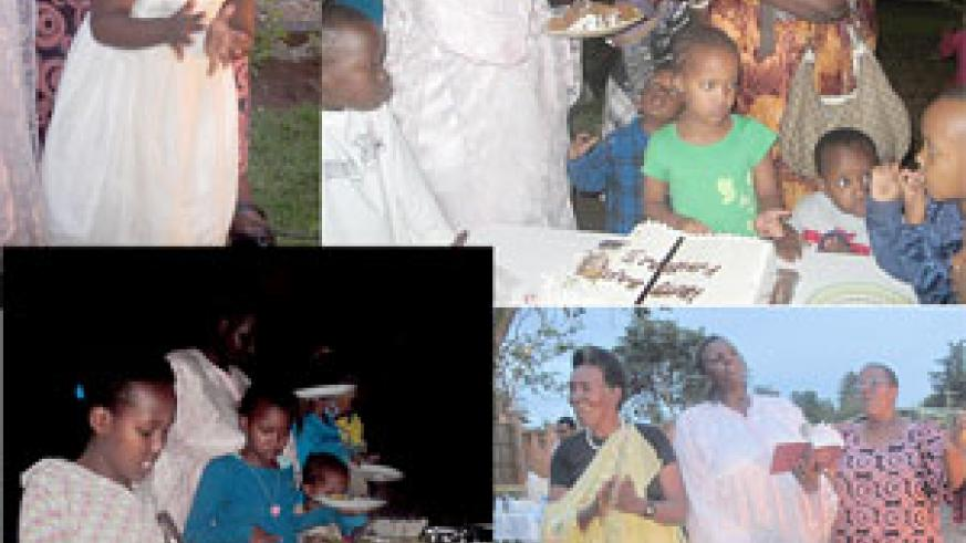 L-R:  Kimberly sings praises to God;  Kids wait patiently for the cake; Food was in plenty; Kimberly's Grandmother (L), her Mum (C) and Aunt  singing a  praise and  worship song.