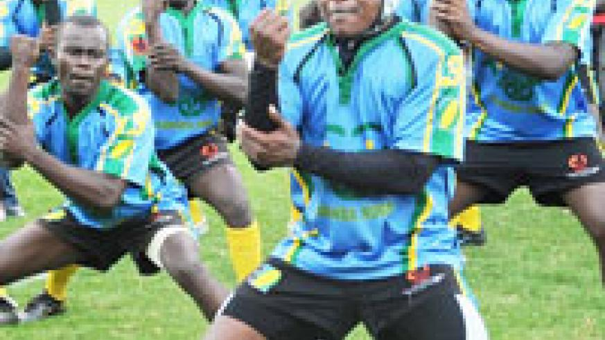 Silverbacks doing their pre-match haka during last year's CAR 15s. Anything short of lifting the Nile 7s title will be a failure according to head coach Gerard Nsenga. (File photo)