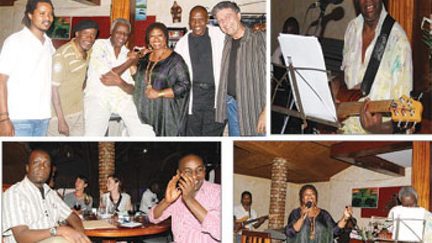 L-R: Artists who performed at Chez Robert last Friday; Hard at work Jazz star, Jean Mutsari, belts out his guitar skills; (L-R) Oliver Rwabukera Bangemu, an official from Rwanda Event Management and a friend at the Jazz Night; Jazz maestro, Denise Jannah,