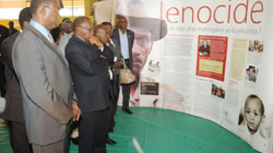 Prime Minister Makuza and other ministers tour the  Genocide  Exhibition yesterday. (Photo J Mbanda).