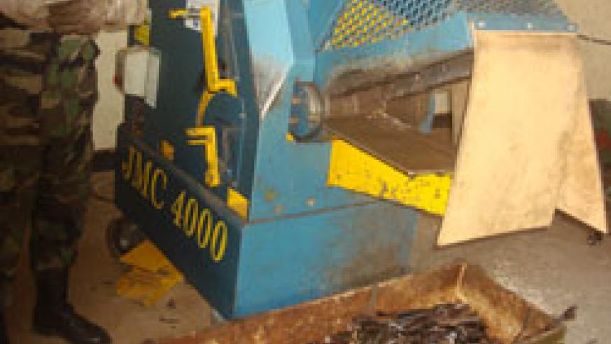 A machine that destroys small firearms was handed to National Police as a way of elimitating the weapons (File Photo).
