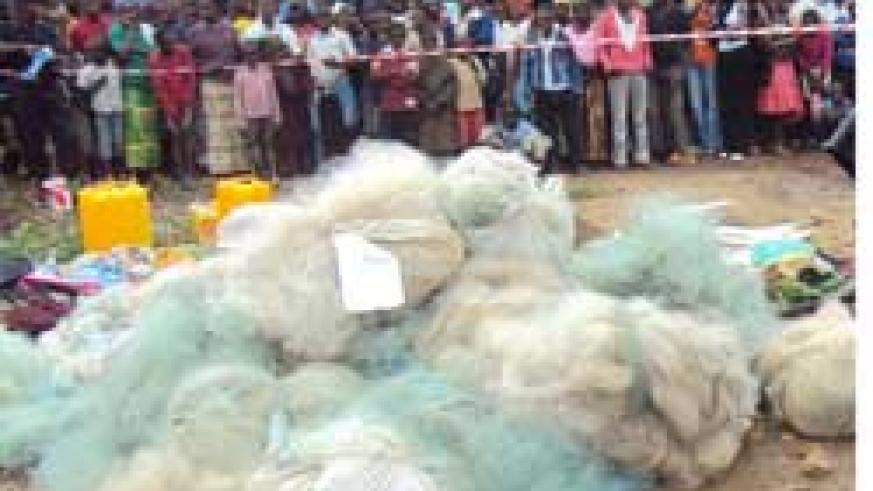 Some of the illegal fishing nets that were destroyed (Photo S Nkurunziza)