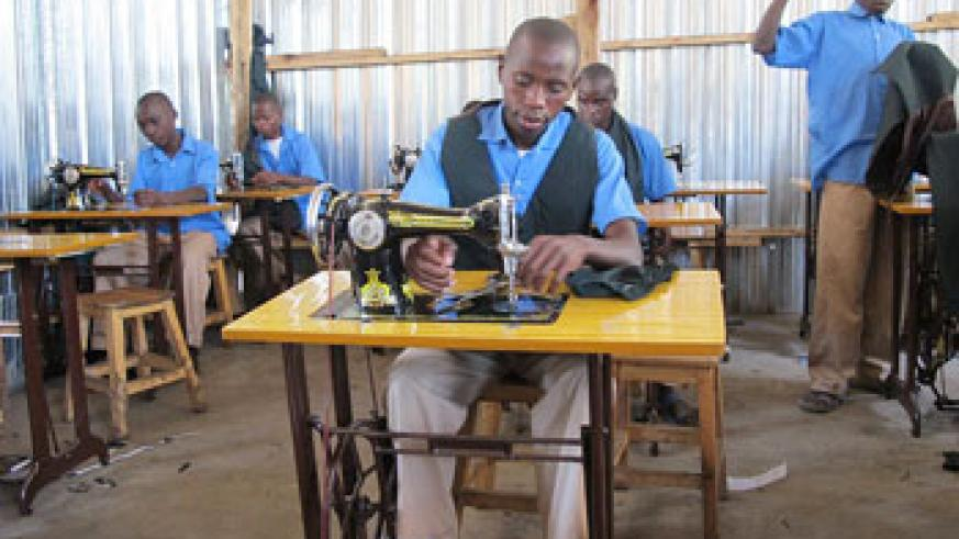 Tailoring students  making uniforms.