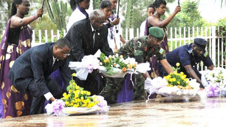 Government officials ad diplomats pay their respects at Gisozi