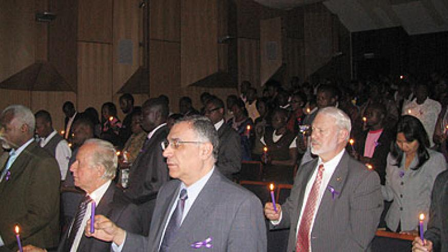 Candle lighting  in Pretoria, South Africa, during the commemoration of the Genocide against the Tutsi