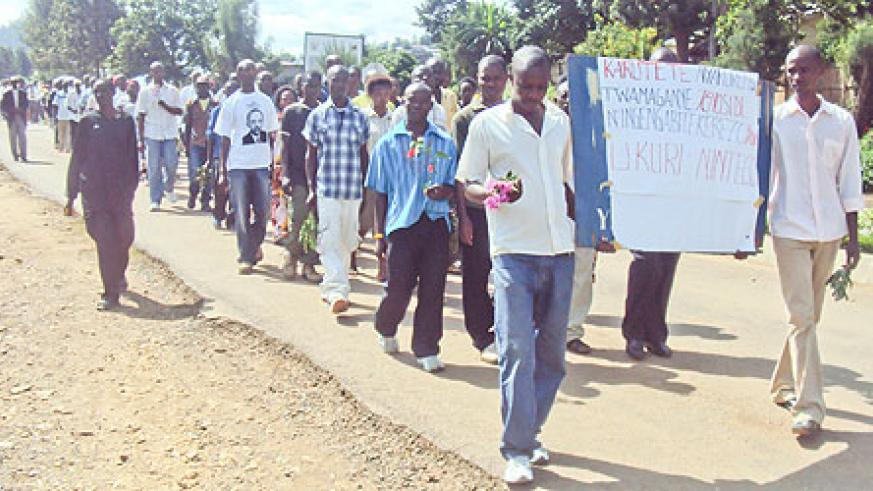 Mourners during the quiet march in Karongi District. (photo S Nkurunziza)
