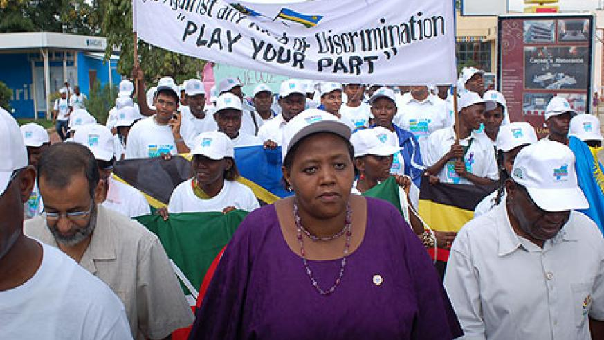 Fatuma Ndangiza leads mourners in a Walk to Remember on Thursday in Dar es Salaam. (Courtesy photo)