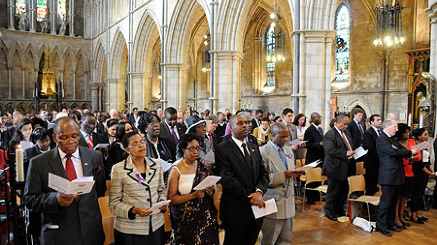 Rwandans and friends of Rwanda in the UK, during the commemoration service in London (Courtsey Photo)