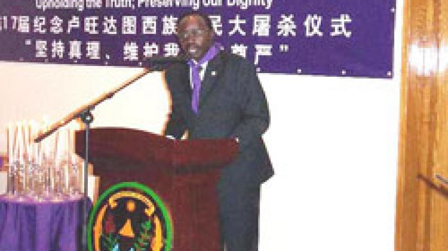 Francois Ngarambe, Rwanda's Ambassador to China, during the 17th commemoration of the Genocide held in Beijing.(courstesy photo)