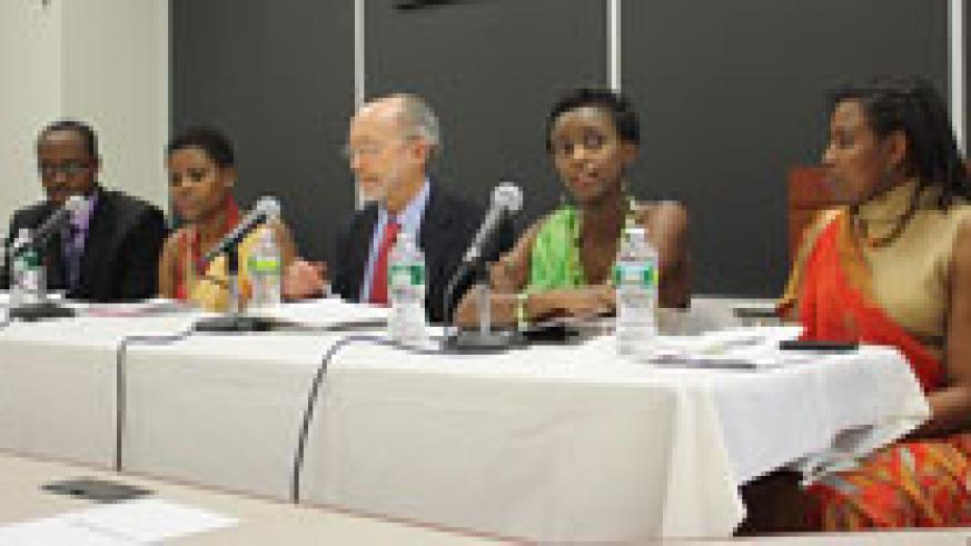 A panel discussion with genocide survivors during the commemoration event in New York (Photo. Khalid Elachi).