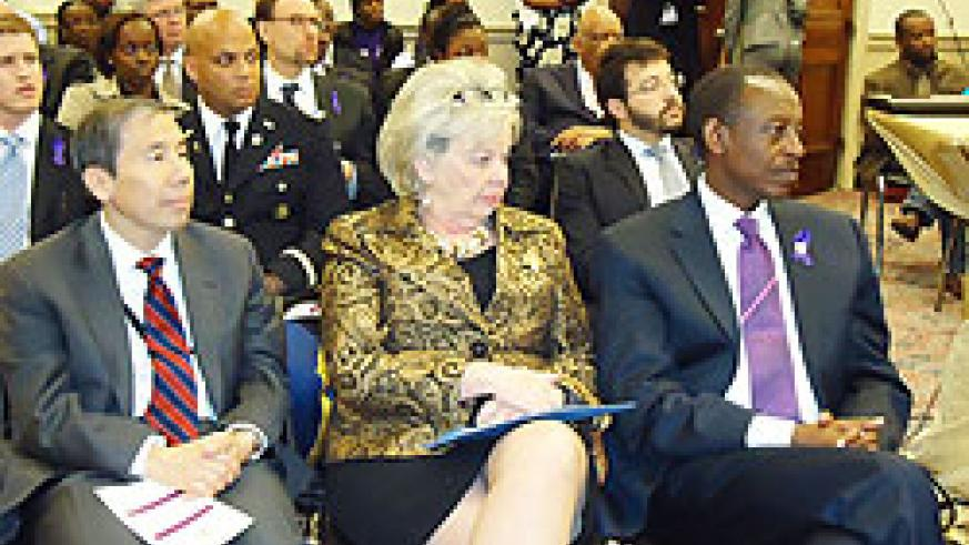 Ambassador James Kimonyo (R) during a recent commemoration event in the United States (Courtesy Photo)