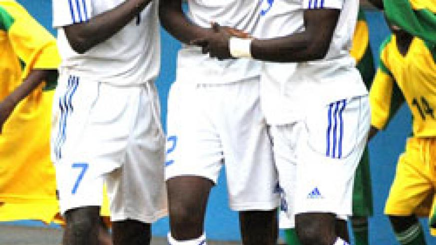Justin Mico (C) is  mobbed by teammates during the 2011 Africa U-17 Championship. He scored the equaliser against Dransy  FC. (File photo)
