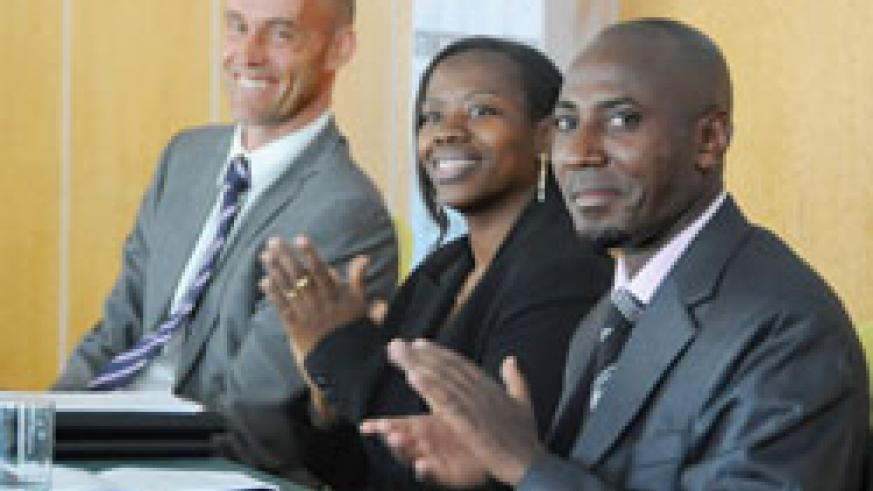 Minister Monique Nsanzabaganwa (C), Dr Mark Cyubahiro, DG RBS (R) and Michael Lindvall from the Swedish Embassy during the meeting (Photo T.Kisambira).