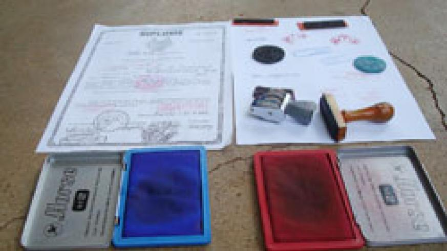 Some of the documents forged by the suspects and the materials they used (Courtsey Photo)