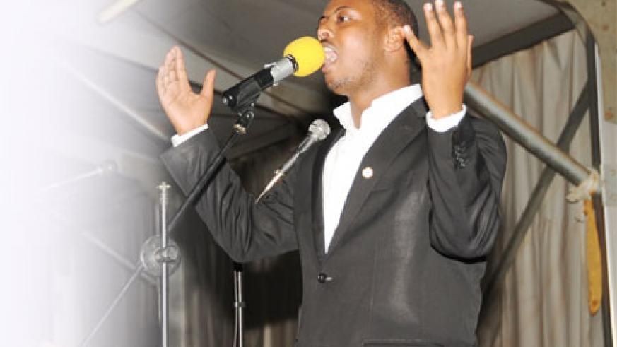 Singing with passion! Belgium-based Rwandan gospel artiste Kizito Mihigo performs to thousands during the Easter holiday at Gikondo Expo Grounds.