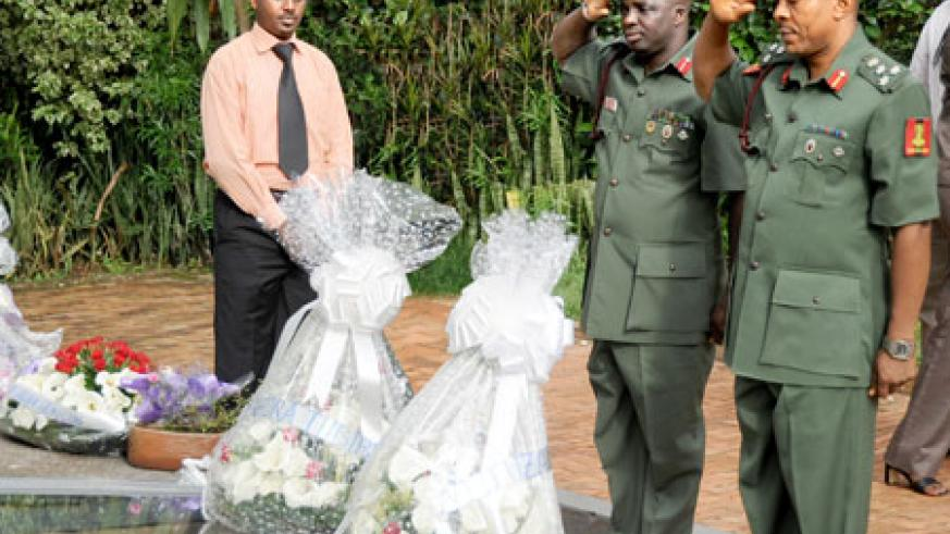 Nigerians Officers paying their respects to victims of the Genocide at Kigali Memorial Centre (Photo: T. Kisambira)