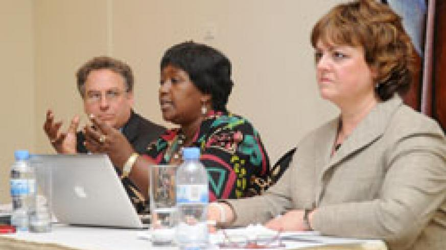 Mark Feinberg Vice President of Merk, Dr. Agnes Binagwaho, and Susan Keese, the Vice President of Market Development, during the press conference (Photo.T.Kisambira).