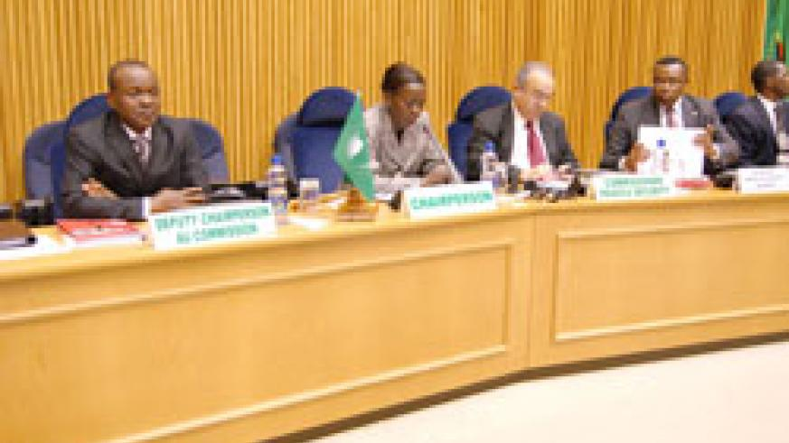 Foreign Affairs Minister Mushikiwabo addresses the 275th Meeting of the Peace and Security Council of the African Union ( Courtesy Photo)