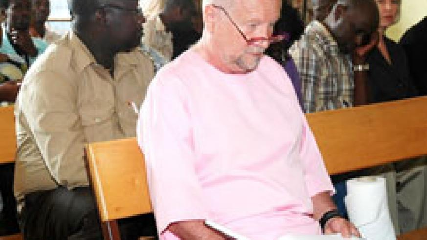 Peter Erlinder during a court session while in detention in Rwanda. (File Photo).