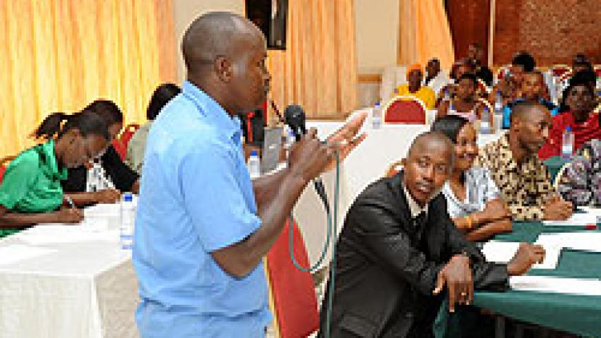 Emmanuel Musabyimana from Iwawa Rehabilitation and Vocation Skills Development Centre gives his testimony on how the institution has helped change his life (Photo T.Kisambira)