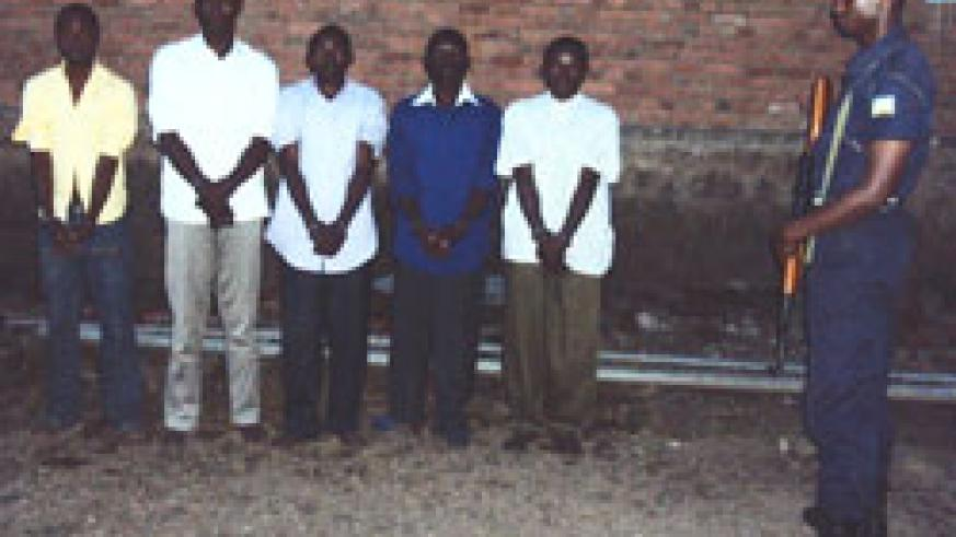 The suspected criminals at Gisenyi police station.