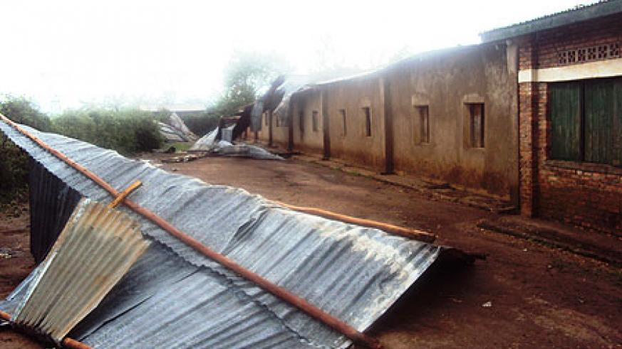 The demolished school in Rwamagana. The school will have to suspend studies to make way for repair work (Photo S Rwembeho)