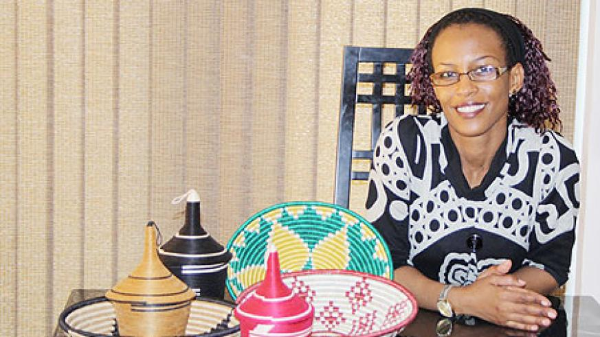 Beauty of Rwanda founder Salha L Kayitesi with some of her organisation's products