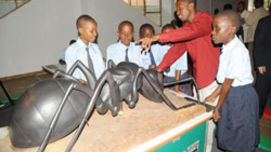 School children at the ongoing science exhibition at the French Cultural Centre yesterday. (Photo J Mbanda)