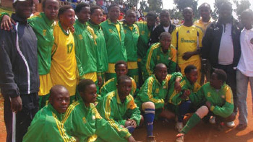 Team members of Groupe Scolaire Remera Rukoma, after taking 2nd place trophy at FEASSSA games. (File Photo)