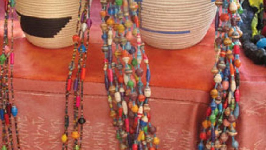 On display are colourful baskets and jewelry that have improved the wedges of rural women.