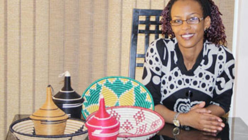 Beauty of Rwanda founder Salha L Kayitesi with some of her organisation's products (File Photo)