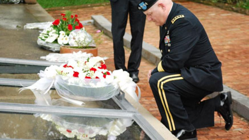 USAFRICOM chief, Gen Ham, pays respect to victims of the Genocide at the Gisozi Memorial (Courtsey Photo).