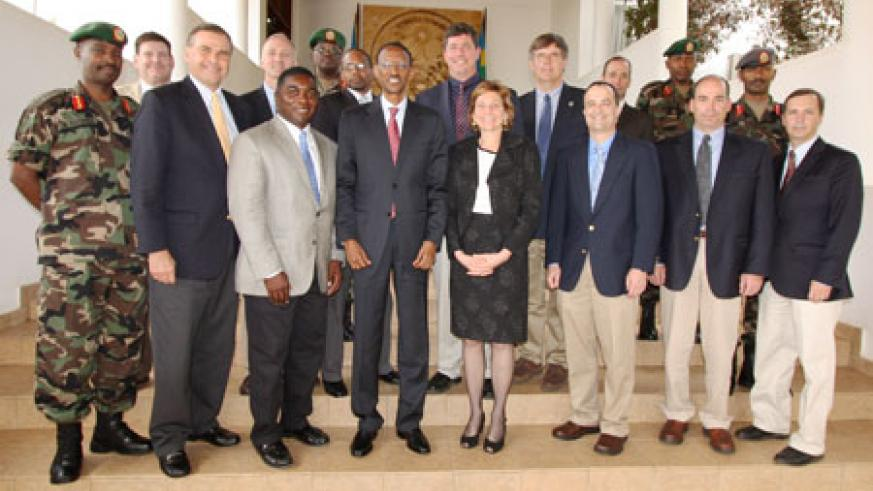 President Kagame with the delegation from the US War college at Village Urugwiro, yesterday. (Courtesy photo).